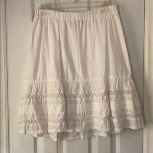 White Cotton Lace Flowy Skirt XS